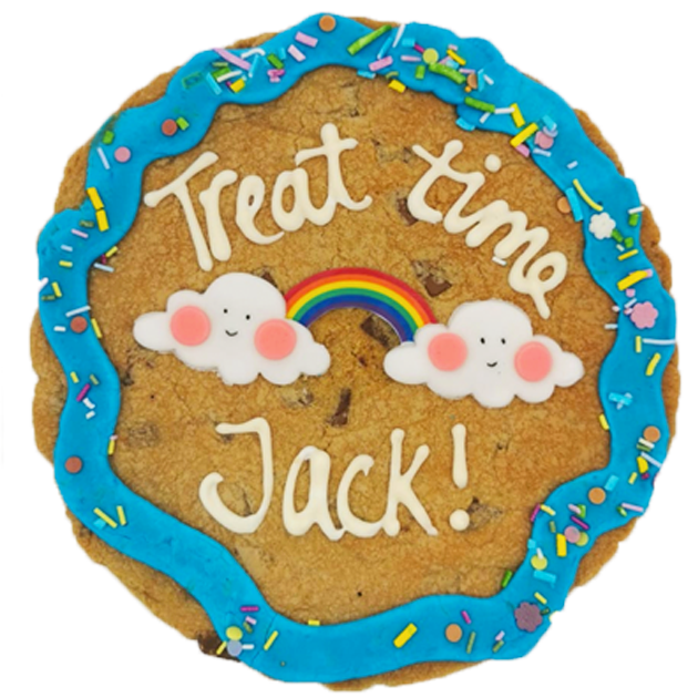 Blue Rainbow Giant Chocolate Chip Cookie Featured Image